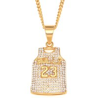 'Stainless Steel Iced Out Hiphop Gold Mens Michael Jordan Basketball Jersey Bulls 23 Pendant Necklace