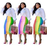 SAU7037 rainbow candy color print high waist fashion office lady wrap midi skirt