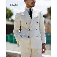 Wholesale Ivory Tuxedo Double Breasted Suit Set For Men WF636