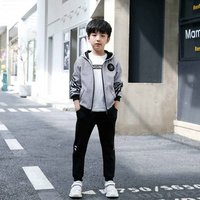 China 2 piece stripe kids sport clothes boy jacket clothing set for boys