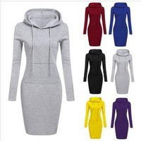 Hot-Selling Fashionable Womens Casual Hooded Hoodie Long Sleeve Pocket Bodycon Tunic Long Top hoodies dress