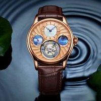 Men Watches Automatic Mechanical Watch Tourbillon Sport Clock Leather Casual Business Wrist Watch Gold Top  Sapphire Mirror
