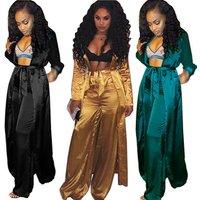 SAK9289 long sleeve night gown and wide leg pants two piece sexy women silk pajamas set