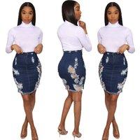 SA3700 new design women high waisted ripped blue jean denim mini skirt