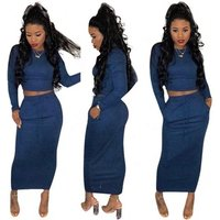 Women casual solid long sleeve top and maxi skirt two piece set HGL1078
