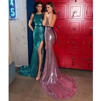 Luxury Formal Evening Gown Sequins Beading Crystal Mermaid Women Sexy Evening Dress 2017