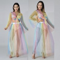 Sexy Two Piece Set Women Dress Bow Tie Sheer Mesh Crop Top And Skirt Set Suit Party Club Summer Beach Outfit Y11576