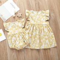 Sister matching clothing baby girl bodysuit romper toddler dress 100% linen cotton fabric