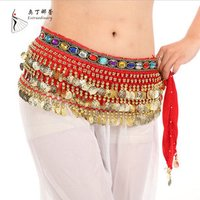 Hip Skirt Scarf Wrap Costume Belly Dance Belt with 228 Gold Coins