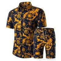 Men Shirts+Shorts Set Summer Casual Printed Hawaiian Shirt Homme Suit Sets
