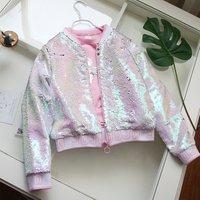 Children Sparkle Pink Silver Sequin Bomber Jacket Girls Sequin Jacket