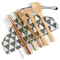 '6 Piece Set Japanese Cutlery Fork Knife With Cloth Bag Travel Camping Outdoor Portable Cutlery Set  Bamboo Camping