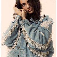2019 New ladies denim jacket oversize fashion women rhinestones fringes beading jean ripped distressed denim jacket coat