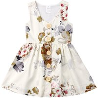 2019 Summer Top sell baby clothing sleeveless floral dress for girls