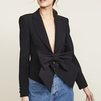One Piece MOQ Black Blazers Factory Bow Formal Party Sexy Deep V Neck Women Suit