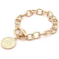 Dainty gold chain bracelet monogram gold coin charm bracelet
