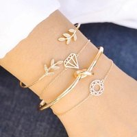 4pcs/Set Fashion Bohemia Leaf Knot Hand Cuff Hollow Link Chain Charm Bracelet Bangle for Women Gold Bracelets set Female Jewelry