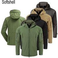 Mens Softshell Army Fans Military Tactical Jacket Camouflage Waterproof Combat Jacket Hoody Coat Army Uniform Cargoes Jacket