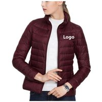 Custom Logo Foldable Winter Ultralight Women White Goose Duck Down Feather Jacket Coat Ladies