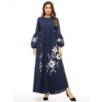 Womens Muslim Lantern Sleeve Long Maxi Dress Vintage Embroidery Dresses Plus Size 4XL Robe Y10461