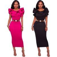 Women Short Sleeve Pencil Dress Empire 2019 Spring Summer New O Neck Party Vestidos Solid Ruffles Elegant Bodycon Dress E4085