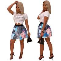 Low Sale Plus Size Graffiti Letter Print Carton Pleated A Line Mini Skirt