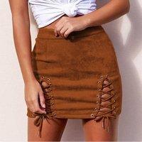 2019 Women Sexy Fashion Vintage Skirt Solid Color High Waist Wild Suede Nightclub Bag Hip Straps A-Line Skirt
