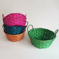 Colorful bamboo basket with handles/bamboo woven storage basket
