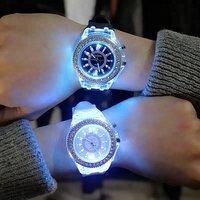 Korean Style Trend Boys Night Light Watch Girls Jelly Quartz Wristwatch Fashion Design Crystal Students Watches