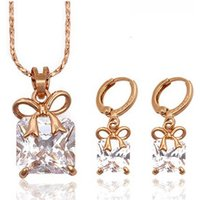 63184 Costume jewelry in Cubic zirconia jewelry, necklace jewelry earring set, rose gold color imitation jewellery
