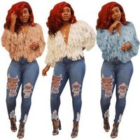 0625M0003 wholesale pure color fashion v neck long sleeve thin crop top woman coat with fur