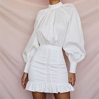 Wholesale Backless Ruffle Long Sleeve Short Pencil Ladies Office Fashion Girls One Piece Shirt Blouse Dresses Women White Casual