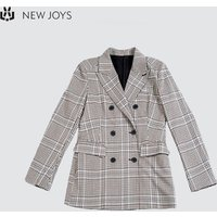 Ladies Office Wear Lady Suit Checked Double Breasted Blazer Women
