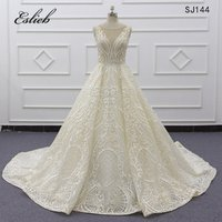 Alibaba Wholesale Sparkling Glitter Bridal Gown Import Guangzhou Light Ivory Ball Gowns  Luxurious Wedding Dresses 2019