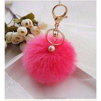 Fur Key Chain Fashion 8cm Fluffy Ball Car KeyChain Gold Tone Women Bag Key Ring Charm Pearl Wedding Trinket Jewelry