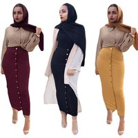 Muslim Dress Chic Womens Skirt Bottoms Long Skirts Knitted Cotton Pencil Skirt Ramadan Party Worship Service Islamic Clothing