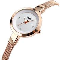 SKMEI 1390 Fashion Luxury Women Charm Rose Gold Quartz Watches 3ATM Waterproof Steel Mesh Band Wristwatch