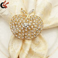 Wholesale Gold alloy rhinestone apple Napkin Ring for Events Wedding Dinner