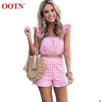 OOTN 2019 Female Gingham Casual Two Piece Suits Pink Plaid 2 Piece Sets Summer Women Ruffle Sleeveless Tank Tops and Shorts Set