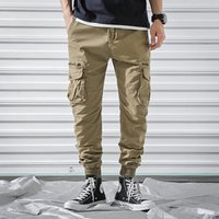 2019 wholesale stylish elastic waist loose fit trousers khaki mens cargo pants with 6 side pockets