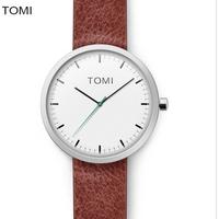 TOMI T066 Men Watches Top Brand Luxury Hour Round Clock Male Fashion Casual Quartz Watch TOMI Men Leather Strap Sport WristWatch