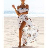 Women Boho Off Shoulder Strapless Summer Beach Floral Slit Long Maxi Dress