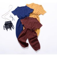 2019 Children Summer Clothing Toddler Baby Girl Solid Romper Bib Pants short Sleeve Romper Overalls Outfits Cropped Jumpsuits