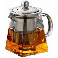 550ml Heat Resistant Square Shape  borosilicate Glass Teapot with Stainless Steel Infuser