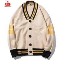 Varsity cotton wool long cashmere knitted yellow knitwear double breasted kimono custom knit cardigan men sweater