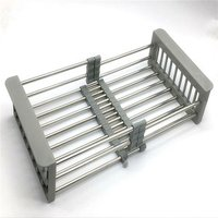 Kitchen Telescopic  Stainless Steel Drain Basket  Over The Sink Dish Drainer Rack