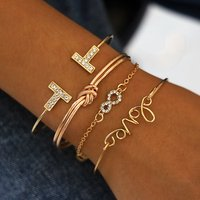 SinDlan 4Pcs Per Set Gold Design Personalized Diamond Link Jewelry Love Knotted Geometric Charm Bracelet