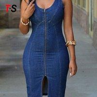 Blue color sleeveless skirt Women Slim fit zipper Hot Denim Dresses