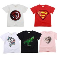 Girls and Boys Summer Cotton Causal T shirt Sequin Dinosaur Unicorn Cartoon Kids Short Sleeve Children T-shirt Clothing