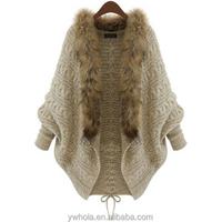 Women Winter Loose Fur Collar Sweater Batwing Sleeve Knit Cardigan faux fur coat